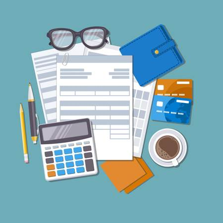 Payroll administration--pieces of paper-calculator-glasses and other objects