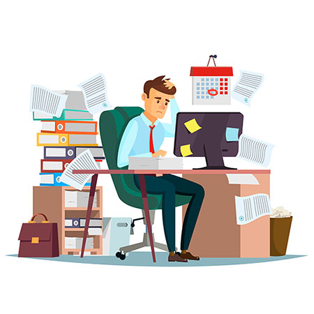 Man overwork in office