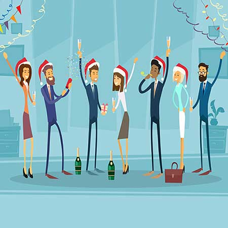 Business people Celebrate Merry Christmas And Happy New Year