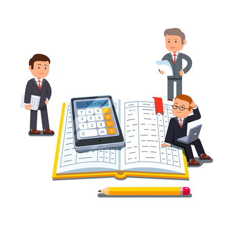 Confused accountants standing around a business document