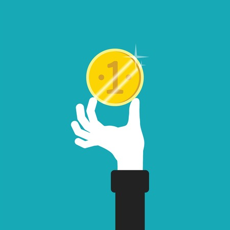 36054909 - golden coin in hand vector concept in flat style
