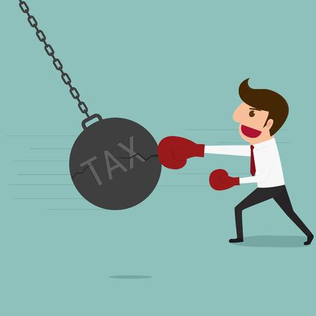 45660643 - business man punch big pendulum tax. cartoon vector illustration.