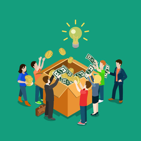 Illustration of people putting money into a big box