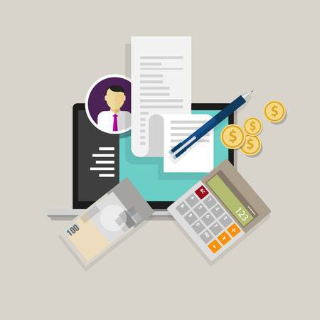 Vector image of money, receipt, calculator, pen and laptop screen