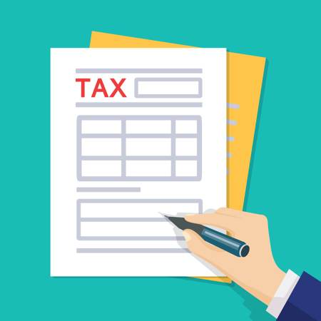 Hand filling out a tax form - illustration