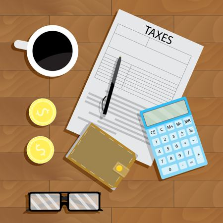 Illustration of a tax sheet with glasses, two gold coins, a wallet, pen, coffee and calculator surrounding it on the desk