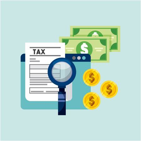 JPEG of magnifying glass over a tax sheet, bank notes and coins are behind