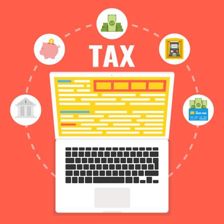 Vector illustration of Tax written above a laptop. % icons red-resting different aspects of tax encircle the laptop