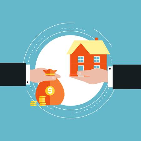 Inheritance Tax concept - hand on the left holds a bag of money, hand on the right holds a house