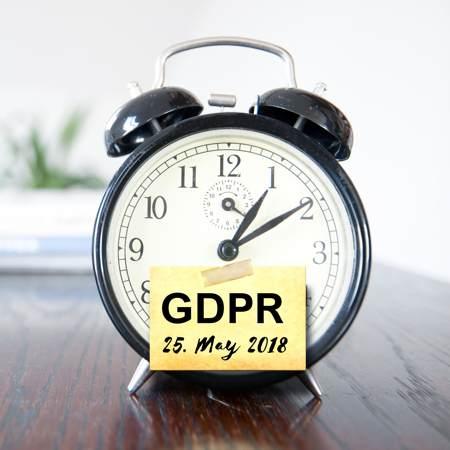 GDPR countdown clock-alarm clock with date of GDPR initiation