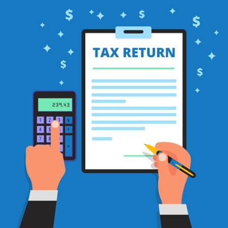 Someone filing a tax return sheet - image