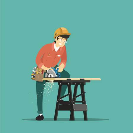 Contractor - a carpenter with an electric saw