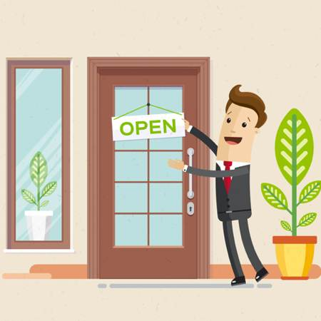 hotel owner in front of door with open sign on it. Illustration