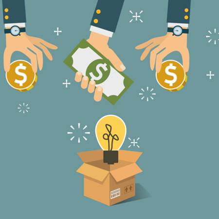 Crowdfunding concept- 3 hands placing money in a box with a lightbulb floating above it