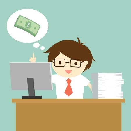 Man behind his desk, thought bubble above his head with an image of money in it