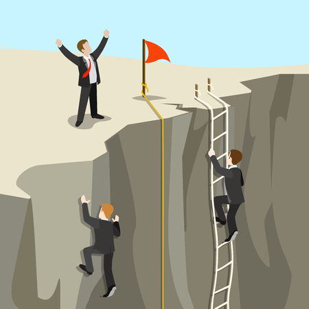 Businesspeople climbing a cliff