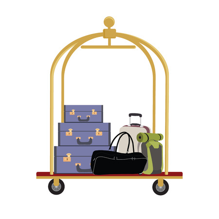 45910518 - vector illustration of hotel luggage cart with luggage, briefcase, backpack and bag. luggage trolley