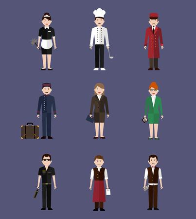 38016305 - hotel staff, profession people flat style vector illustration